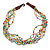 Ethnic Multistrand Multicoloured Glass Bead, Semiprecious Stone Necklace With Wood Hook Closure - 60cm L - view 3