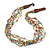 Ethnic Multistrand Multicoloured Glass Bead, Semiprecious Stone Necklace With Wood Hook Closure - 60cm L