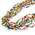 Ethnic Multistrand Multicoloured Glass Bead, Semiprecious Stone Necklace With Wood Hook Closure - 60cm L - view 4