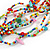 Ethnic Multistrand Multicoloured Glass Bead, Semiprecious Stone Necklace With Wood Hook Closure - 60cm L - view 5