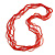 Multistrand Scarlet Red Glass Bead Necklace - 70cm Long