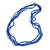 Multistrand Blue Glass Bead Necklace - 70cm Long