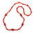 Red Glass/ Ceramic Bead Long Necklace - 82cm Long
