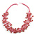 Multistrand Pink Ceramic Bead Cotton Cord Necklace - 58cm Long