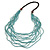 Statement Multistrand Light Blue Glass Bead, Brown Wood Bead Necklace - 110cm L
