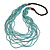 Statement Multistrand Light Blue Glass Bead, Brown Wood Bead Necklace - 110cm L - view 3