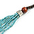 Statement Multistrand Light Blue Glass Bead, Brown Wood Bead Necklace - 110cm L - view 5