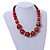 Chunky Colour Fusion Wood Bead Necklace (Red, Gold, Black) - 48cm Long - view 2