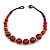 Chunky Colour Fusion Wood Bead Necklace (Red, Gold, Black) - 48cm Long - view 3