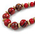 Chunky Colour Fusion Wood Bead Necklace (Red, Gold, Black) - 48cm Long - view 4