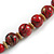 Chunky Colour Fusion Wood Bead Necklace (Red, Gold, Black) - 48cm Long - view 5
