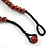 Chunky Colour Fusion Wood Bead Necklace (Red, Gold, Black) - 48cm Long - view 6