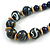 Chunky Colour Fusion Wood Bead Necklace (Blue, Gold, White) - 48cm Long - view 4