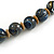 Chunky Colour Fusion Wood Bead Necklace (Blue, Gold, White) - 48cm Long - view 5