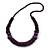 Deep Purple Wood Bead Necklace - 70cm Long