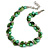 Exquisite Faux Pearl & Shell Composite Silver Tone Link Necklace In Green - 44cm L/ 7cm Ext
