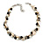 Exquisite Cream/ Black Faux Pearl & Antique White Shell Composite, Silver Tone Link Necklace - 44cm L/ 7cm Ext
