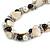 Exquisite Cream/ Black Faux Pearl & Antique White Shell Composite, Silver Tone Link Necklace - 44cm L/ 7cm Ext - view 5