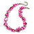 Exquisite Faux Pearl & Shell Composite Silver Tone Link Necklace In Pink - 44cm L/ 7cm Ext