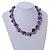 Exquisite Faux Pearl & Shell Composite Silver Tone Link Necklace In Purple - 44cm L/ 7cm Ext - view 3