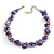 Exquisite Faux Pearl & Shell Composite Silver Tone Link Necklace In Purple - 44cm L/ 7cm Ext - view 2