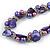 Exquisite Faux Pearl & Shell Composite Silver Tone Link Necklace In Purple - 44cm L/ 7cm Ext - view 4