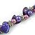 Exquisite Faux Pearl & Shell Composite Silver Tone Link Necklace In Purple - 44cm L/ 7cm Ext - view 5
