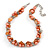 Exquisite Faux Pearl & Shell Composite Silver Tone Link Necklace In Orange - 44cm L/ 7cm Ext