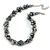 Exquisite Faux Pearl & Shell Composite Silver Tone Link Necklace In Grey - 44cm L/ 7cm Ext