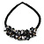 Stunning Black Glass Bead with  Black Shell Floral Motif Necklace - 48cm Long