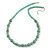 Light Green Glass Bead with Silver Tone Metal Wire Element Necklace - 64cm L/ 4cm Ext
