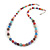 Multicoloured Glass Bead with Silver Tone Metal Wire Element Necklace - 64cm L/ 4cm Ext - view 3