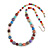 Multicoloured Glass Bead with Silver Tone Metal Wire Element Necklace - 64cm L/ 4cm Ext