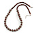 Chocolate Brown Glass Bead with Silver Tone Metal Wire Element Necklace - 64cm L/ 4cm Ext