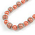 Peach Orange Glass Bead with Silver Tone Metal Wire Element Necklace - 64cm L/ 4cm Ext - view 3