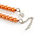 Peach Orange Glass Bead with Silver Tone Metal Wire Element Necklace - 64cm L/ 4cm Ext - view 5