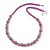 Purple Glass Bead with Silver Tone Metal Wire Element Necklace - 64cm L/ 4cm Ext