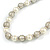 Cream Glass Bead with Silver Tone Metal Wire Element Necklace - 64cm L/ 4cm Ext - view 4