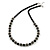 Black Glass Bead with Silver Tone Metal Wire Element Necklace - 64cm L/ 4cm Ext