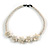 White Glass Bead with Shell Floral Motif Necklace - 48cm Long