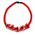 Red Glass Bead with Shell Floral Motif Necklace - 48cm Long