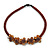 Brown Glass Bead with Shell Floral Motif Necklace - 48cm Long