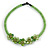 Lime Green Glass Bead with Shell Floral Motif Necklace - 48cm Long