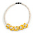 Yellow/ White Glass Bead with Shell Floral Motif Necklace - 48cm Long