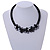 Black Glass Bead with Shell Floral Motif Necklace - 48cm Long - view 2