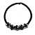 Black Glass Bead with Shell Floral Motif Necklace - 48cm Long