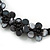 Black Glass Bead with Shell Floral Motif Necklace - 48cm Long - view 4