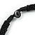 Black Glass Bead with Shell Floral Motif Necklace - 48cm Long - view 6