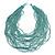 Chunky Dusty Light Blue Glass Bead Bib Multistrand Layered Necklace - 80cm L