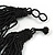 Chunky Black Glass Bead Bib Multistrand Layered Necklace - 80cm L - view 6